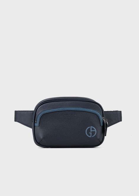 Full-grain leather belt bag with contrasting lines and logo