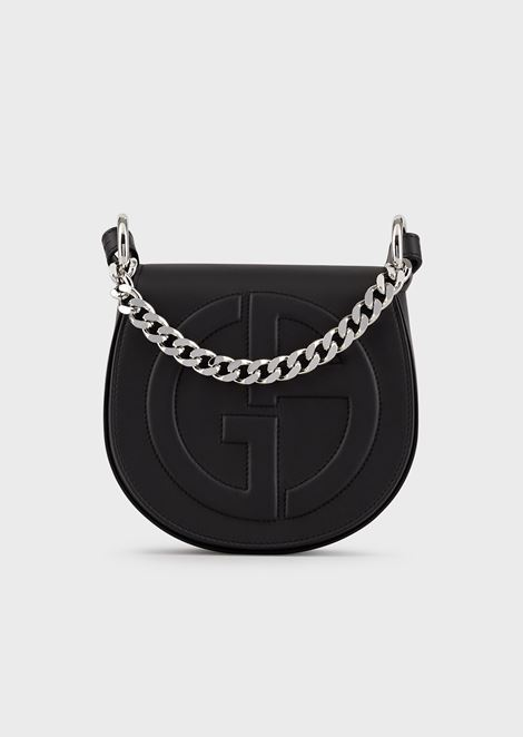 Runde Crossbody Bag aus Leder mit GA-Logo in Relief-Optik