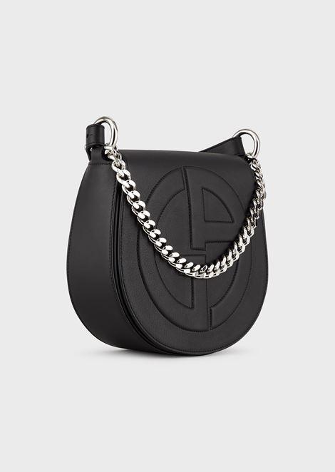 Leather round crossbody bag with raised GA logo