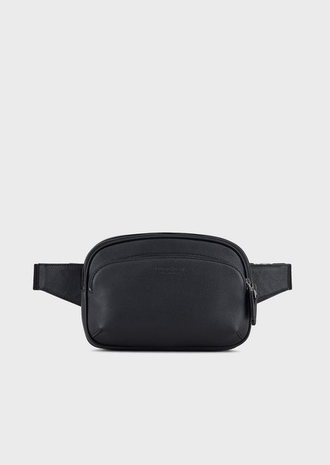 Pouch bag in full-grain leather