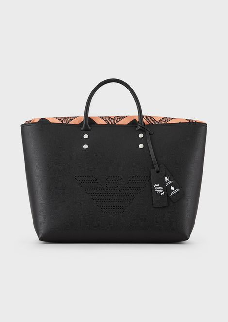 Bonded leather shopper with fretwork maxi logo