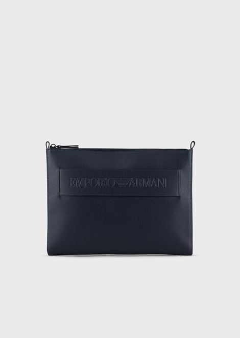 Document holder in regenerated leather with Emporio Armani logo