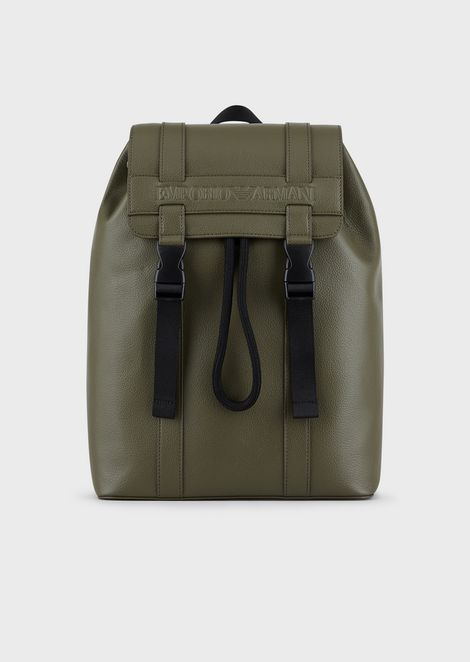 Backpack in regenerated leather with embossed Emporio Armani logo