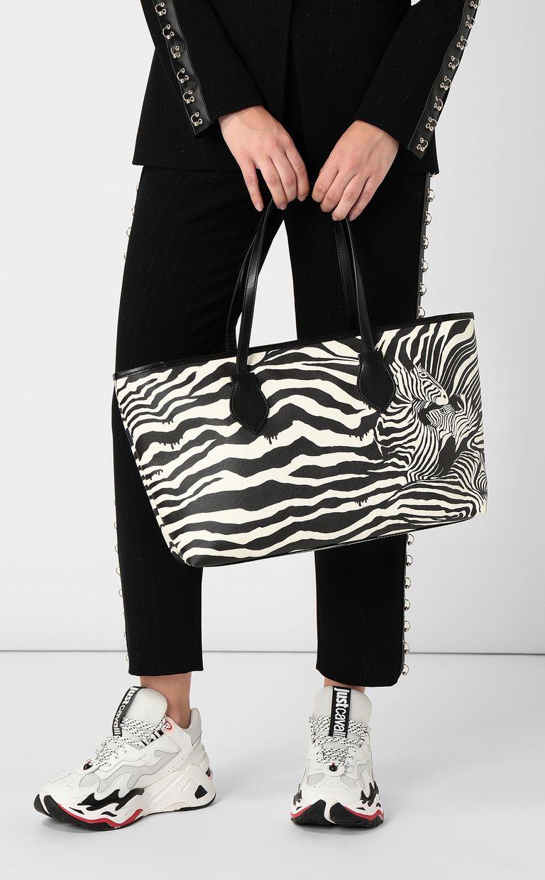 JUST CAVALLI Shopper with zebra-stripe print Tote Woman d