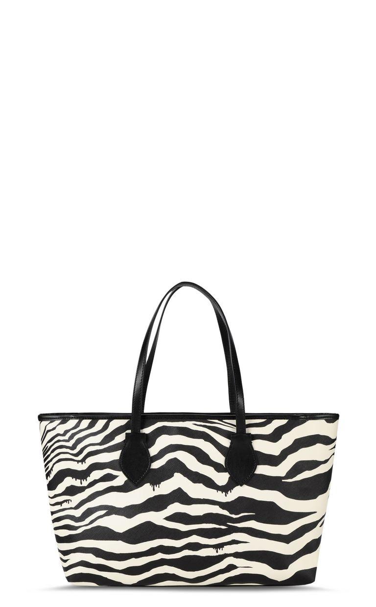 JUST CAVALLI Shopper with zebra-stripe print Tote Woman e