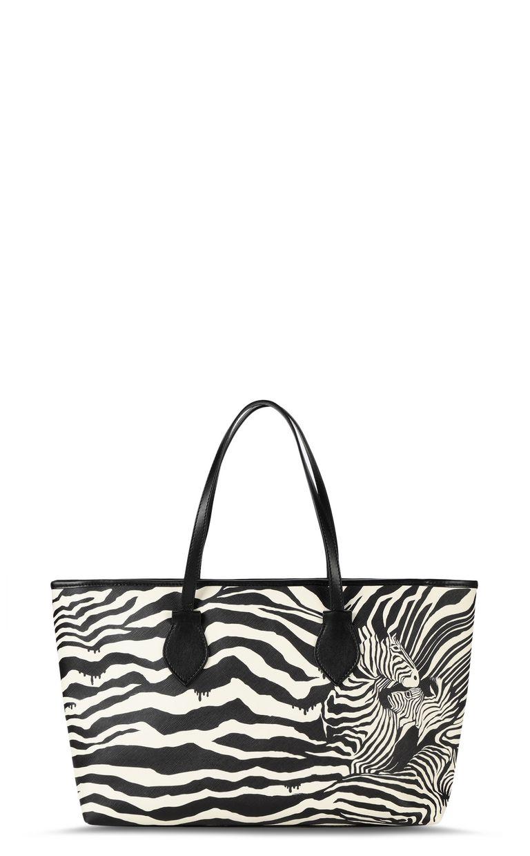 JUST CAVALLI Shopper with zebra-stripe print Tote Woman f