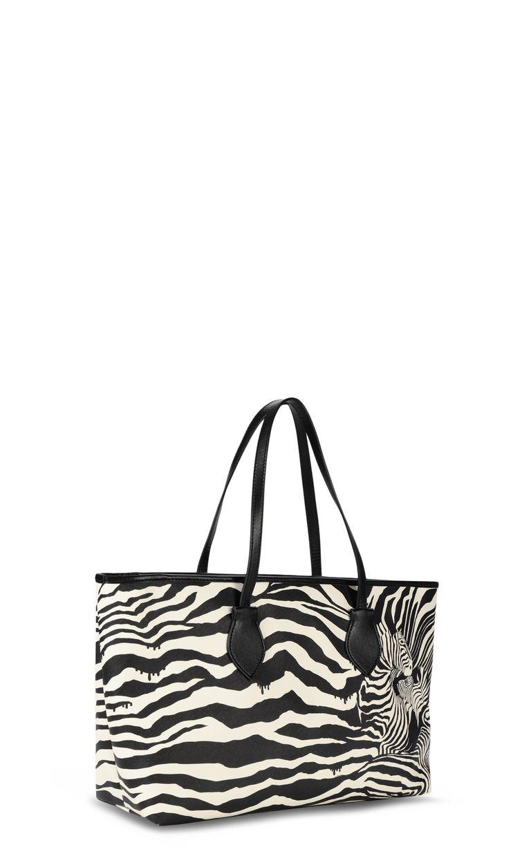 JUST CAVALLI Shopper with zebra-stripe print Tote Woman r