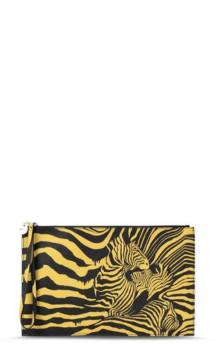"JUST CAVALLI Tote Man Pouch with ""Cross Zebra"" print f"