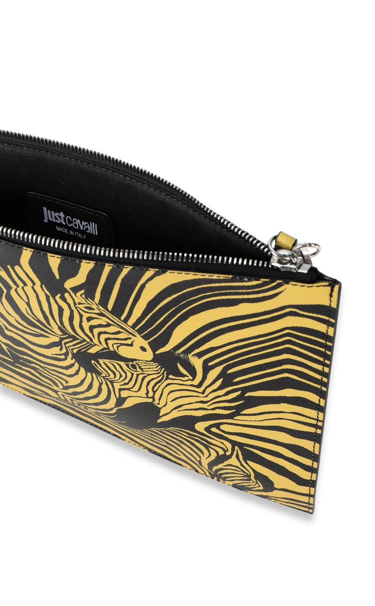 """JUST CAVALLI Pouch with """"Cross Zebra"""" print Tote Man a"""