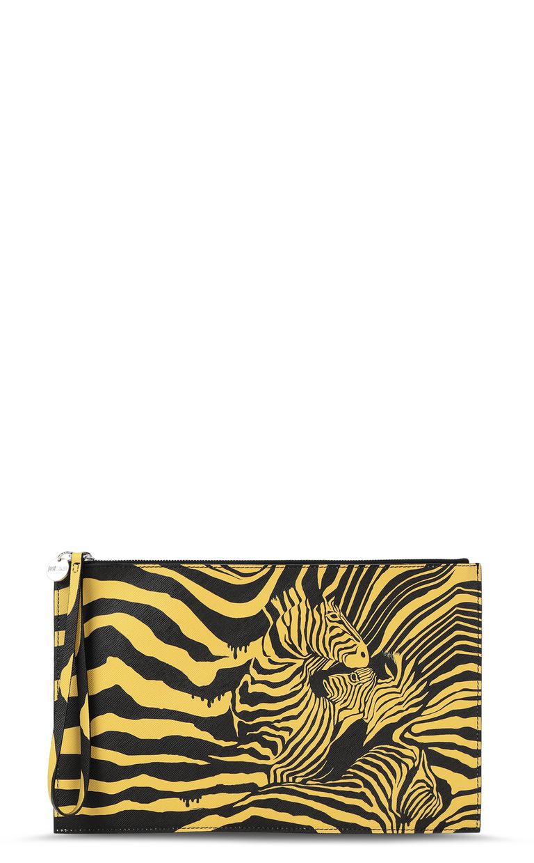 """JUST CAVALLI Pouch with """"Cross Zebra"""" print Tote Man f"""