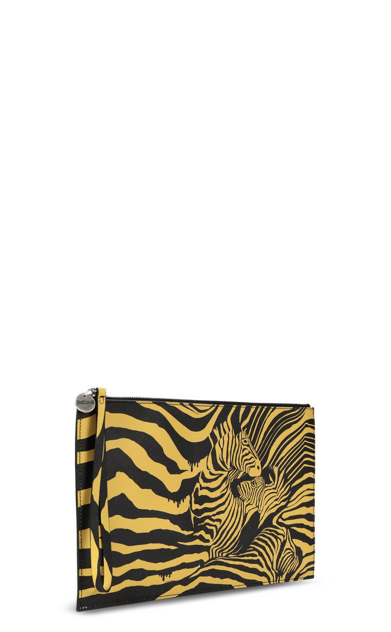 """JUST CAVALLI Pouch with """"Cross Zebra"""" print Tote Man r"""