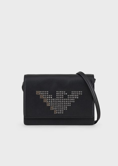 Shoulder bag with pixel-effect eagle and studs