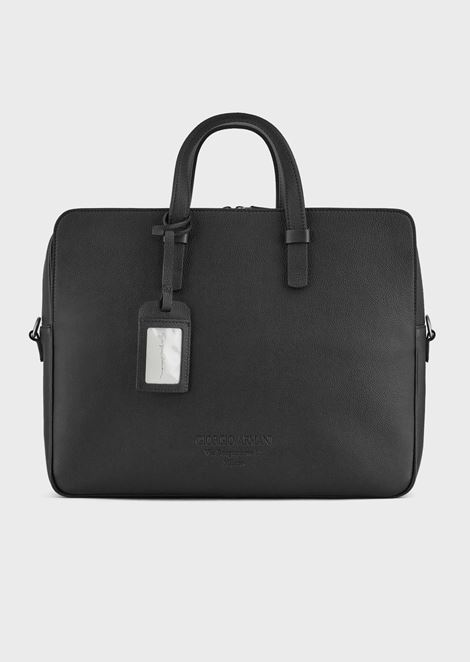 Full-grain leather briefcase with shoulder strap