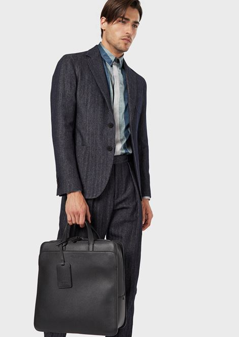Full-grain leather vertical briefcase