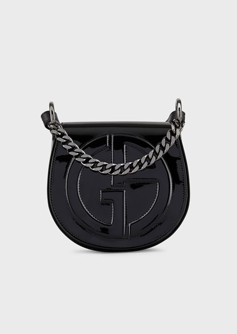 Shoulder bag in patent leather with embossed GA logo