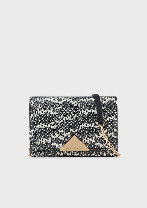 Shoulder bag in lizard-print leather