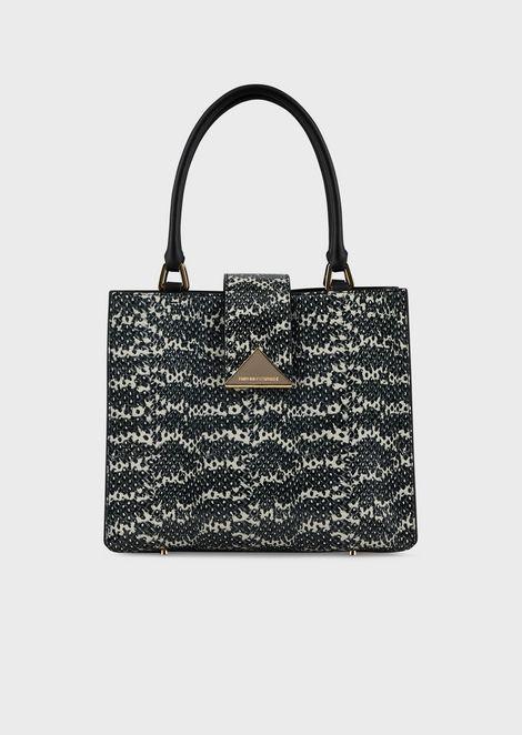 Handbag in lizard-print leather