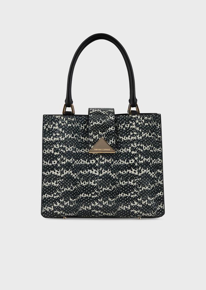bc0e3e3671 Handbag in lizard-print leather