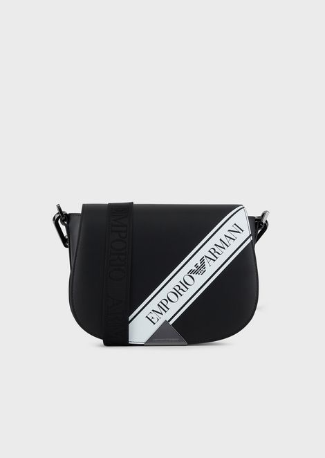 Leather shoulder bag with logo band