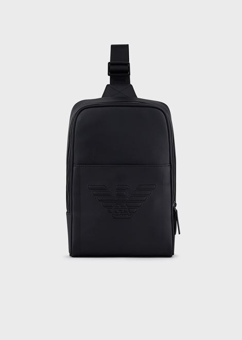 Single-shoulder backpack with eagle maxi logo