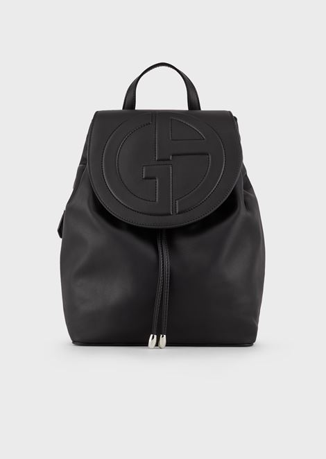 Leather backpack with embossed logo