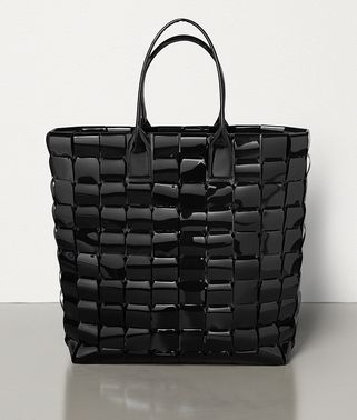 LARGE TOTE IN POLY AND PATENT LEATHER