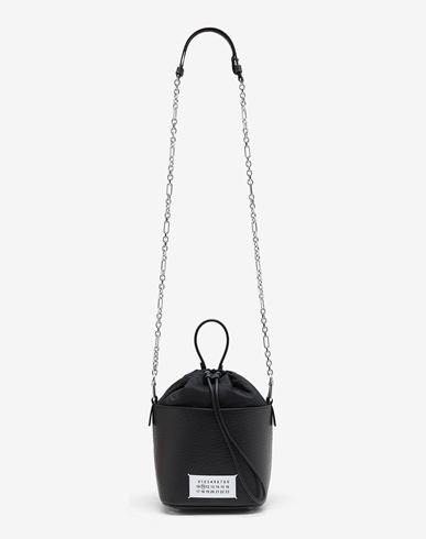 BAGS Textured leather bucket bag Black