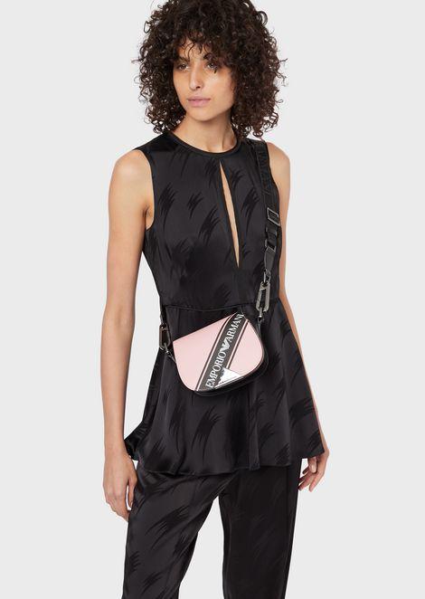 Leather mini shoulder bag with logo band