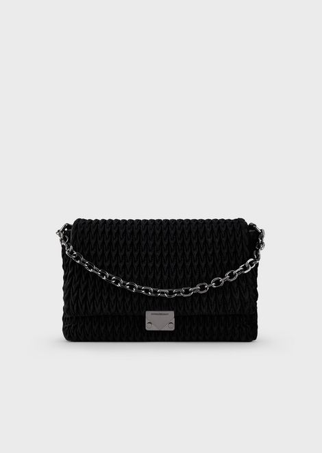 Quilted-velvet shoulder bag
