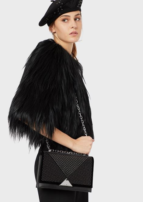 Vachetta leather and velvet shoulder bag with studs