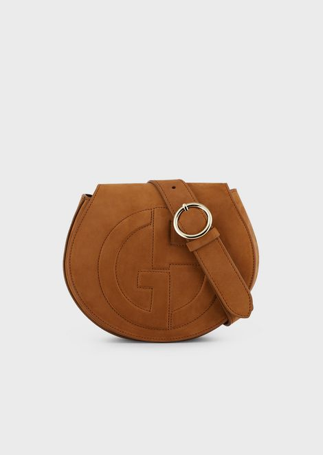 Suede belt bag with raised GA logo
