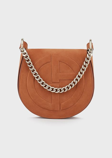 Suede shoulder bag with embossed GA logo