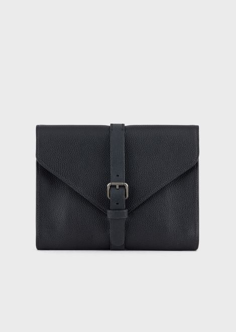 Leather document holder with buckle