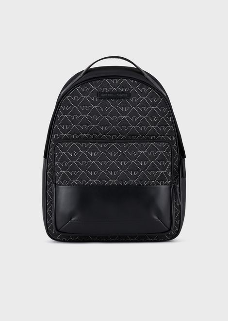 Nylon backpack with quilted monogram