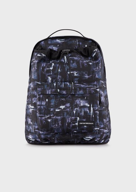 Nylon backpack with a watercolour print