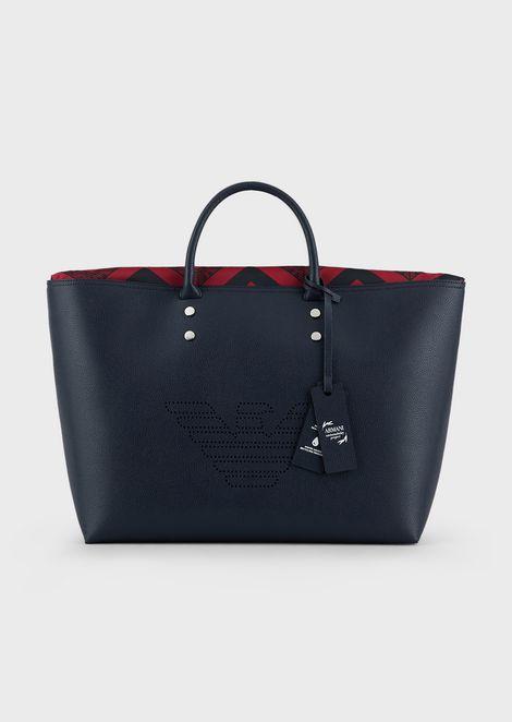 Shoulder bag with pixel-effect eagle and studs