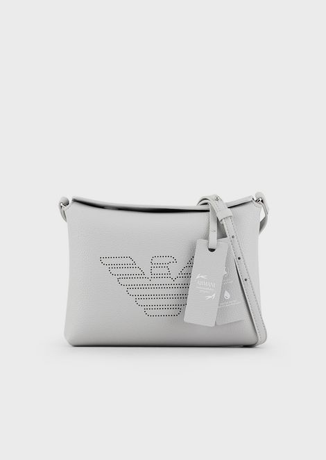 Mini shoulder bag in bonded leather with a fretwork maxi logo