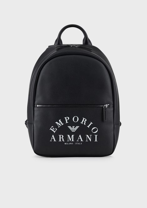 Backpack with front pocket and Emporio Armani logo