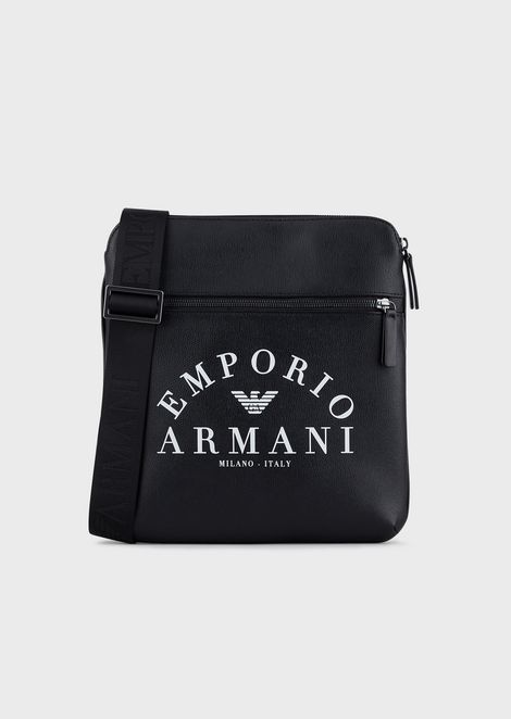 Flat shoulder bag with Emporio Armani logo