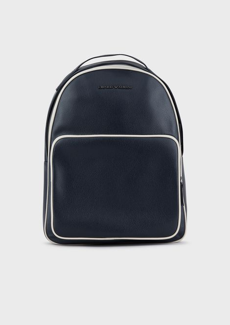 Tumbled leather backpack with piping