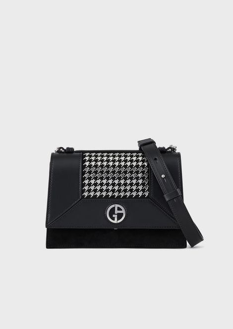 Leather shoulder bag with studded-houndstooth motif