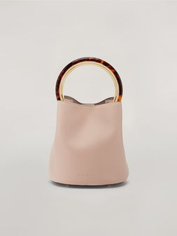 Marni PANNIER bag in pink leather with design handle Woman