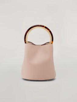 Marni PANNIER Tasche aus pinkfarbenem Leder mit Designhenkel Damen