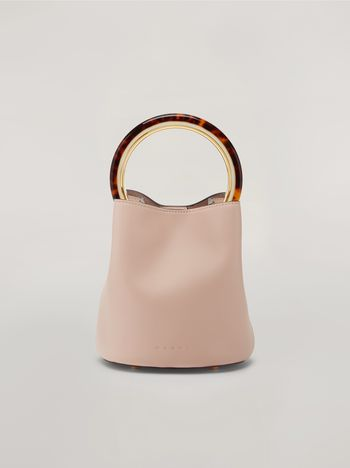 Marni PANNIER bag in pink leather with design handle Woman f