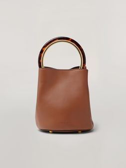 Marni PANNIER bag in brown calfskin with design handle Woman