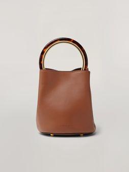 Marni Bolso PANNIER de piel marrón con asa de diseño Mujer