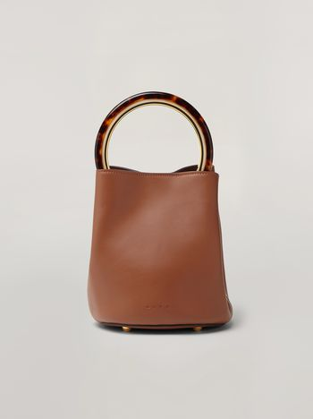 Marni PANNIER bag in brown leather with design handle Woman f