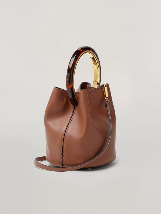Marni PANNIER bag in brown leather with design handle Woman - 3