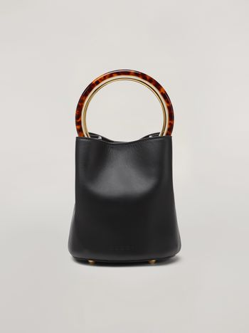 Marni PANNIER bag in black leather with design handle Woman f