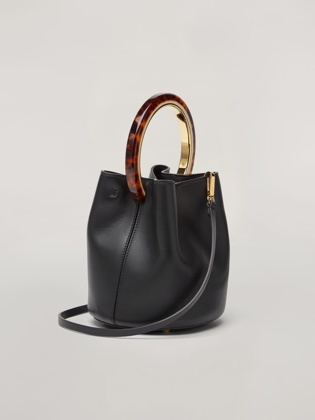 Marni PANNIER bag in black leather with design handle Woman